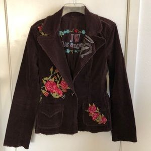 Johnny Was brown corduroy embroidered jacket boho